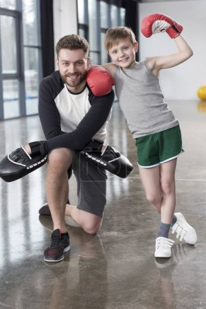boy boxer with his coach
