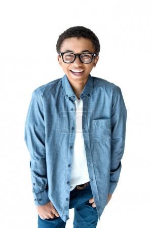 african american teenage boy in eyeglasses