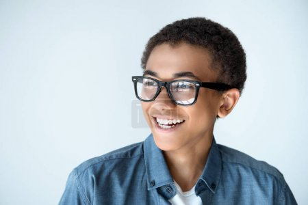 african american teenage boy in eyeglasses