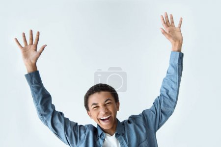african american teenager with outstretched arms