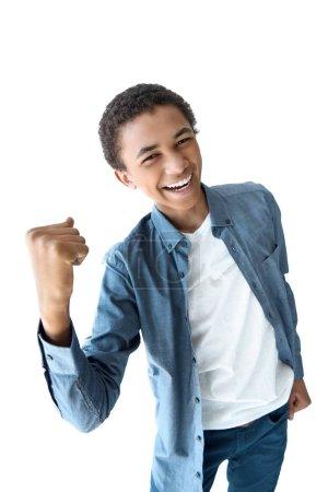 cheerful african american teenager