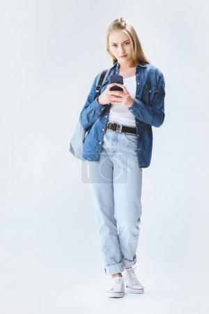caucasian teenage girl with smartphone
