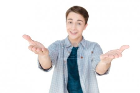 caucasian teenager with outstretched arms