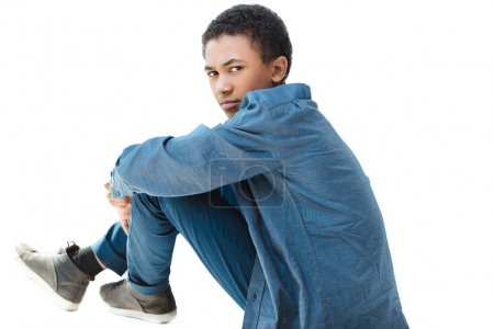 thoughtful african american teenage boy