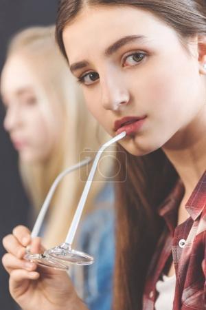 Pensive caucasian teenage girl