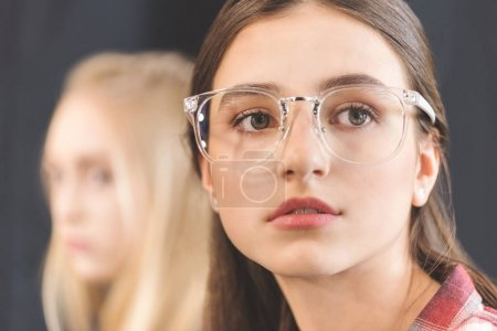 Photo for Portrait of beautiful pensive caucasian teenage girl in eyeglasses looking away - Royalty Free Image