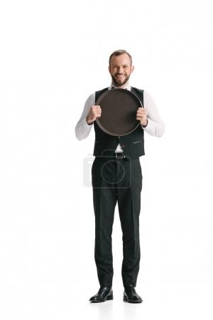 waiter in suit with tray