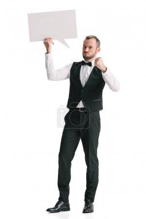 Waiter with blank speech bubble
