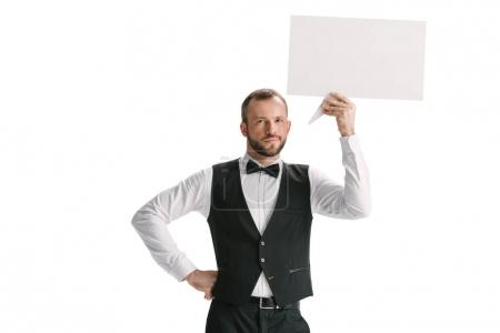 Photo for Pensive waiter with blank speech bubble isolated on white - Royalty Free Image