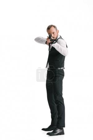 secret agent in suit with rifle
