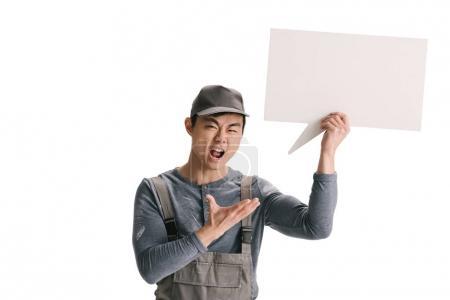 builder holding blank speech bubble