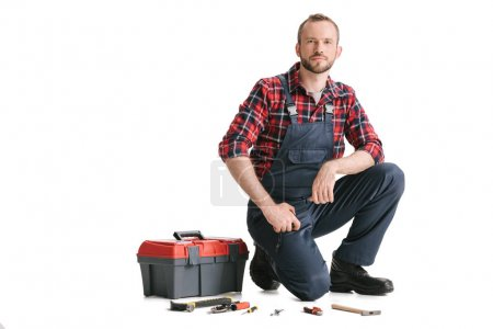 construction worker with toolbox