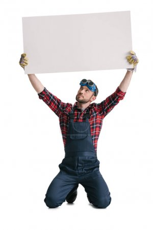 construction worker with blank banner
