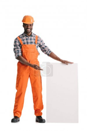 builder with blank white banner