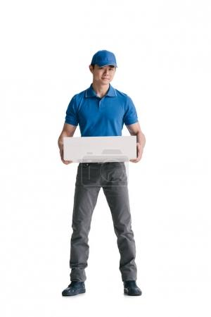 young asian courier with blank box