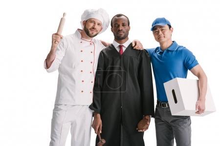 Photo pour Juge, chef et courier isolé sur blanc - image libre de droit