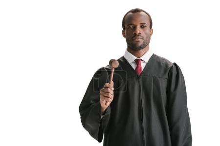 serious african american judge with gavel
