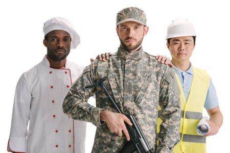 Photo pour Chef cuisinier et architecte soutien soldat avec fusil isolé sur blanc - image libre de droit