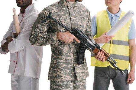 Photo pour Plan recadré de soldat, chef et architecte isolé sur blanc - image libre de droit