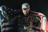 "Постер, картина, фотообои ""солдат с флагом США"""