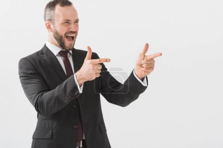 Excited young businessman