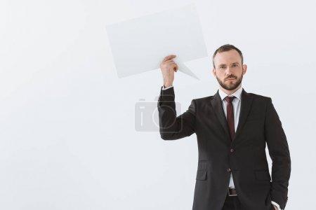 businessman with blank card