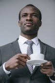 african american businessman with coffee cup