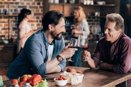 male friends drinking wine