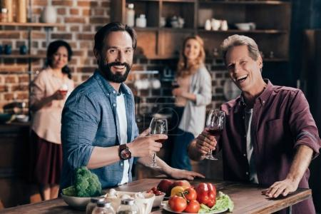 male friends drinking wine