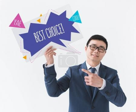 asian businessman with motivational card
