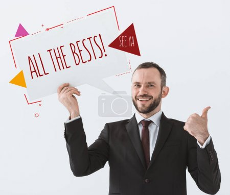 businessman showing card and sign all the bests