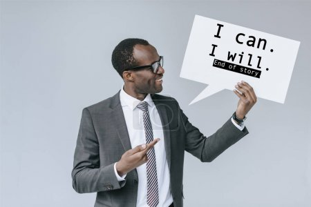 african american businessman with blank card