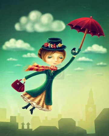 Woman flying with an umbrella