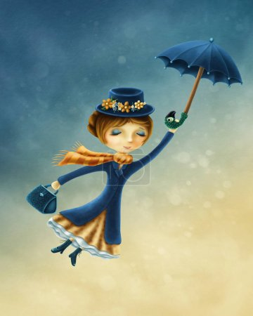 Photo pour Femme de voler avec un parapluie au-dessus de la ville - image libre de droit