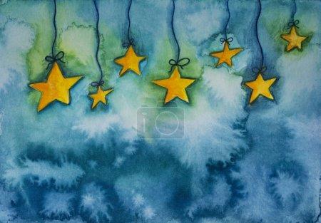 Photo pour Abstrait fond bleu aquarelle avec des étoiles - image libre de droit