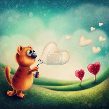 Photo pour Chat rouge, faire des bulles de savon coeur - image libre de droit