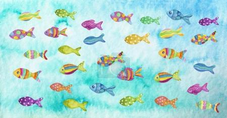 Photo pour Illustration aquarelle de poissons colorés - image libre de droit