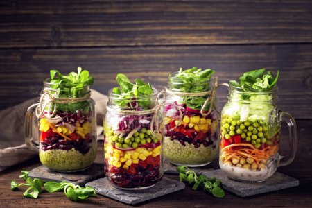 Photo for Homemade vegetable salad in a glass jar - Royalty Free Image