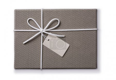 Grey gift box with a tag