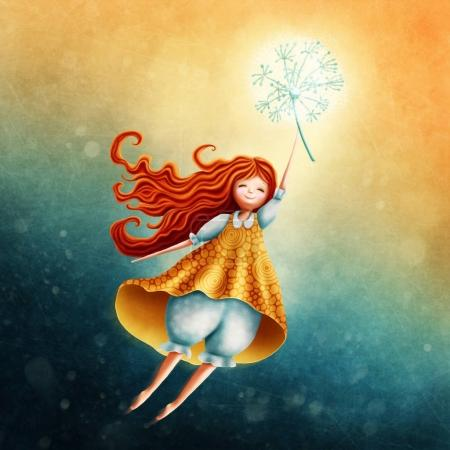 Photo for Little fairy girl flying in the sky with dandelion - Royalty Free Image
