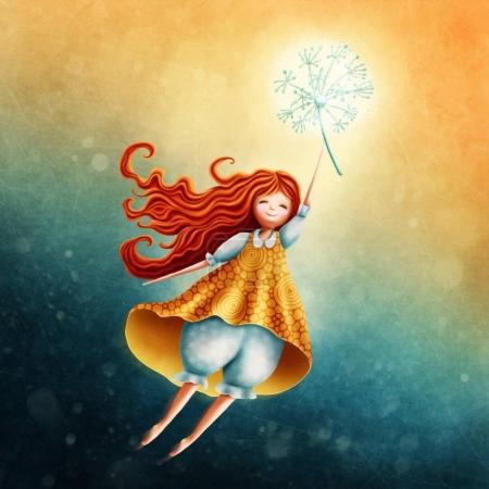 Foto de Niña hada volando en el cielo con diente de León - Imagen libre de derechos
