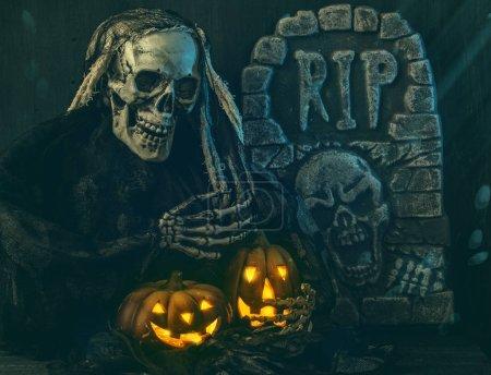 Skull monster and pumpkins