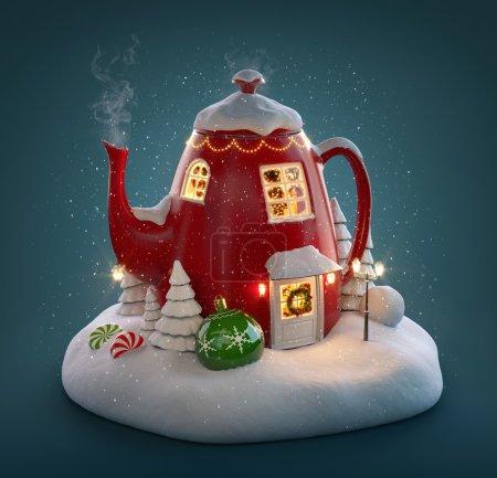 Photo pour Superbe maison de fée décorée à Noël en forme de bouilloire avec intérieur de Noël à l'intérieur. Illustration 3D inhabituelle de Noël . - image libre de droit