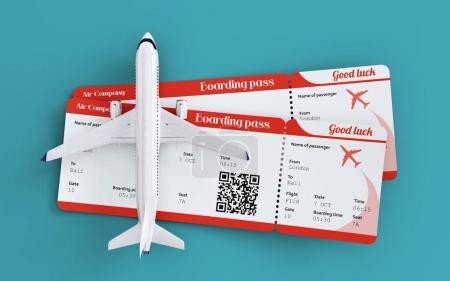 Photo pour Cet avion et cartes d'embarquement. Voyager autour du monde en avion. Vols et concept itinérant. Rare illustration 3d - image libre de droit