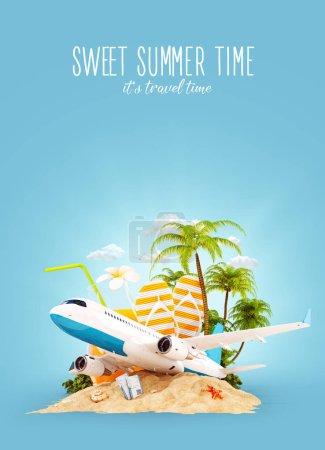 Photo pour Avion passager et palmier tropical sur une île paradisiaque. Voyage inhabituel illustration 3D. Concept vacances d'été et voyage en avion - image libre de droit