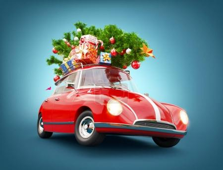 Red Santa's car with gift boxes and christmas tree on the top