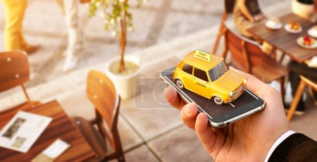 Photo for Smartphone application of taxi service for online searching calling and booking a cab. Unusual 3D illustration of taxi cab on smart phone in hand. Taxi concept - Royalty Free Image