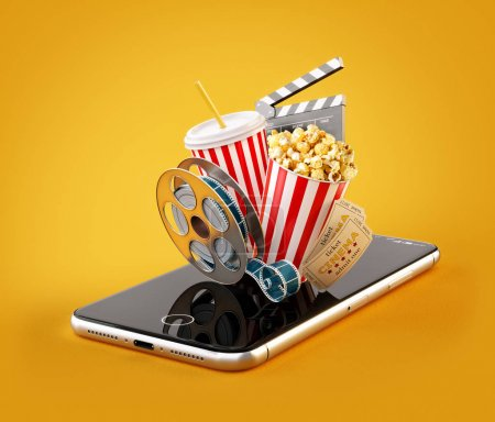 Smartphone application for online buying and booking cinema tickets. Live watching movies and video. Unusual 3D illustration of popcorn, cinema reel, disposable cup, clapper and tickets on smarthone