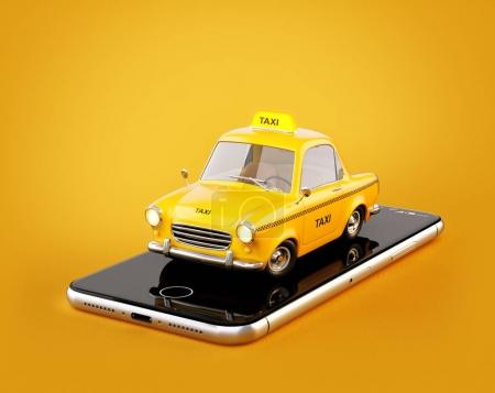 Smartphone application of taxi service for online searching calling and booking a cab. Unusual 3D illustration of taxi cab on smart phone.