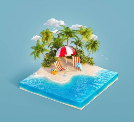Photo pour Chaises longues sous le parasol sur une plage de sable de belle île sur bloc de terre tranchée dans la journée d'été. Illustration 3D inhabituelle. Concept de voyage et vacances - image libre de droit
